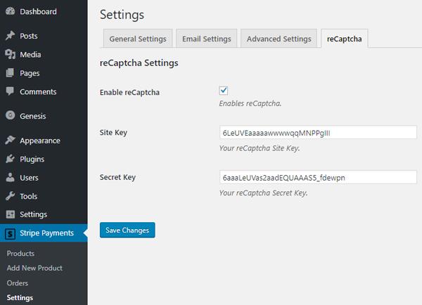 recaptcha-stripe-payments-plugin