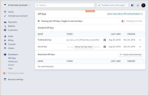 Stripe Dashboard API Keys page