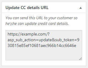 Update CC Details URL section