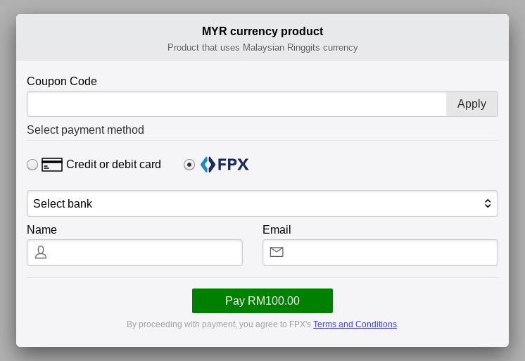 FPX addon Stripe Payments